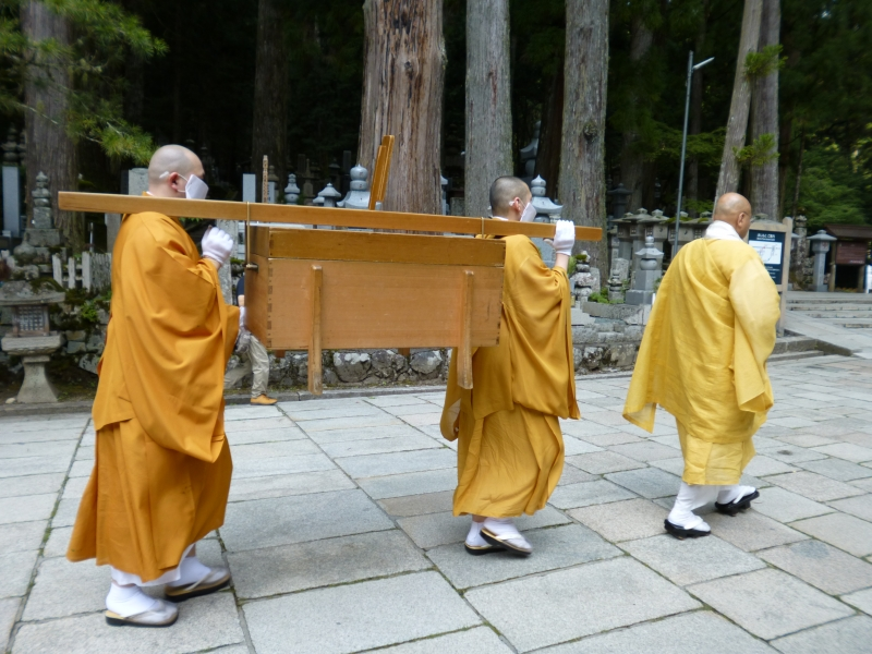 Meals are ritually offered to the founder of Koyasan Kobo Daishi at the Okunoin twice a day. Guests may see and take photos of the
