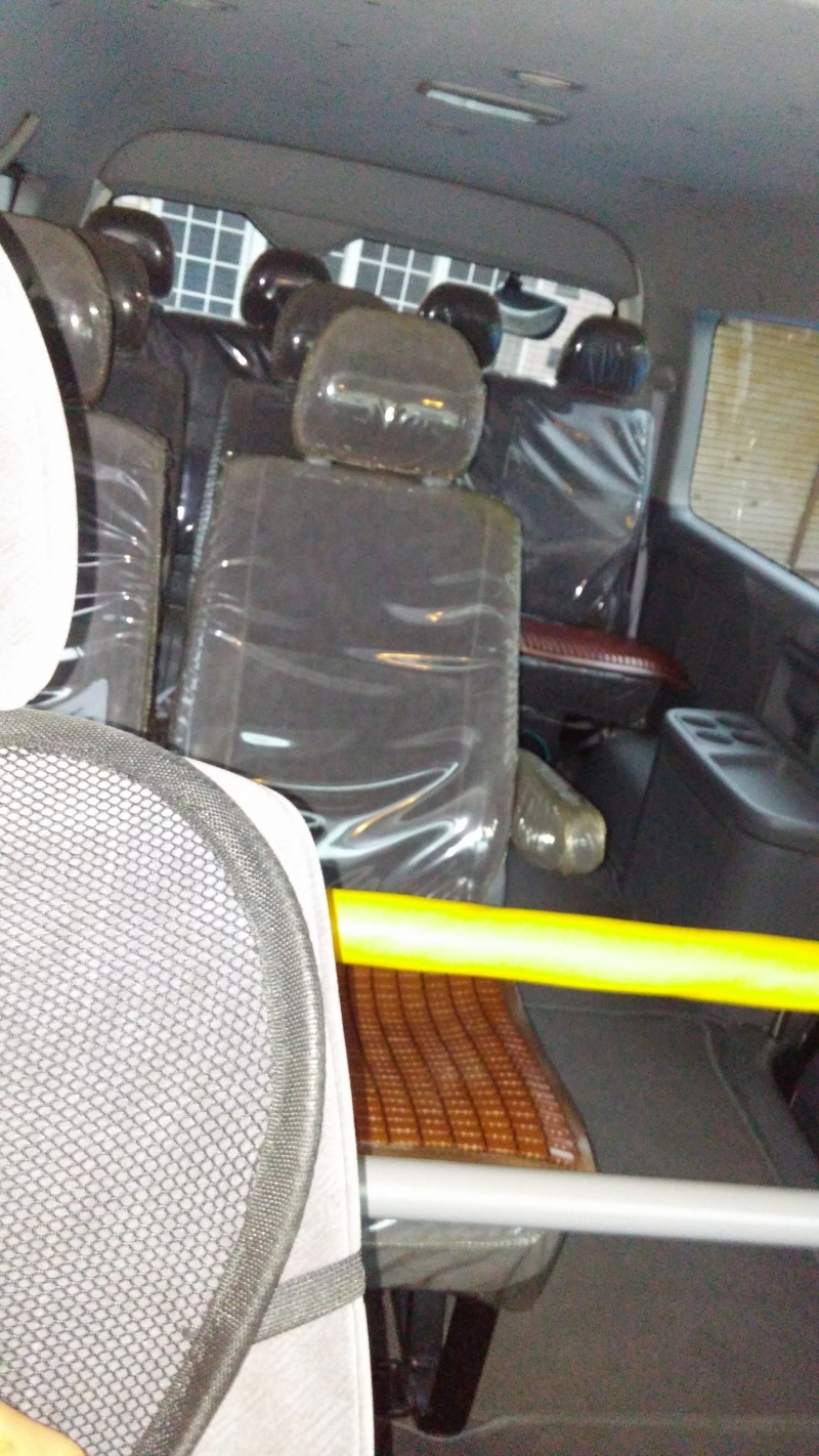 Inside a guide car(TOYOTA HIACE VAN with 8 seats)