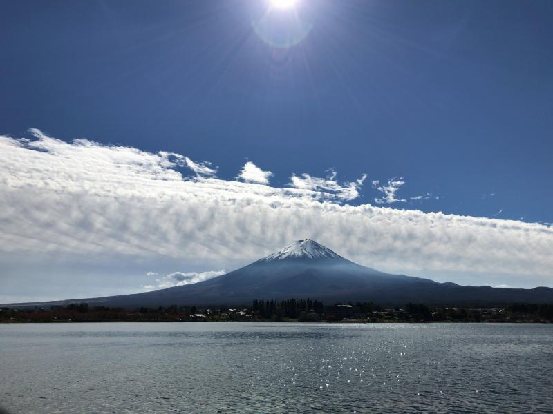 Mt. Fuji, seen from a boat on Lake Kawaguchi