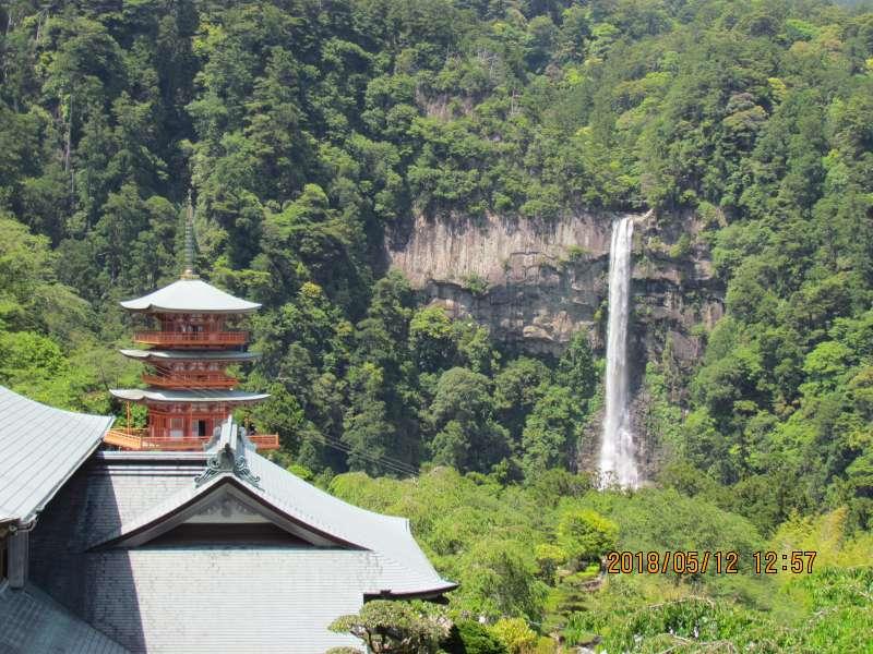 Three-story pagoda and Nachi Waterfall