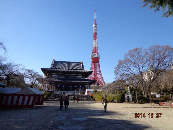 Zojo-ji (Tokugawa Shogun's family temple) and Tokyo Tower ( 333m, Main observatory at 150m height , 900Yen))