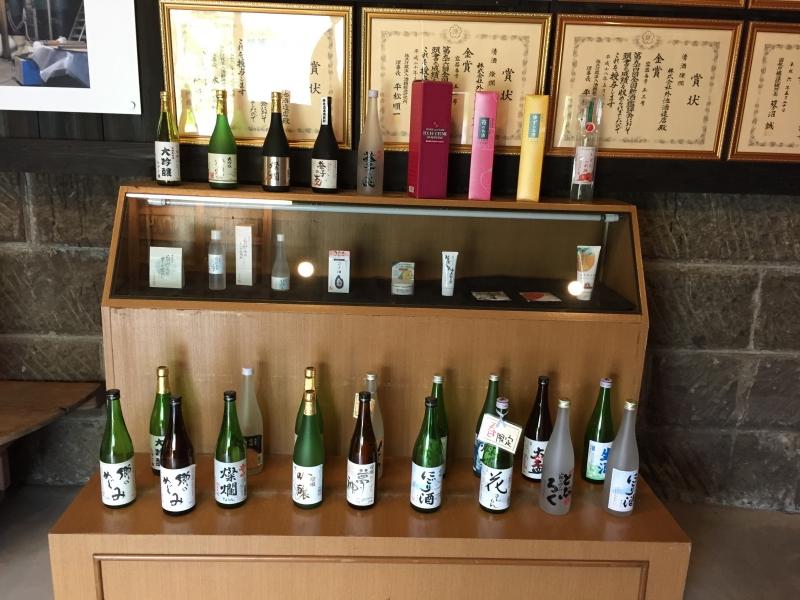 The Sake samples at a sake brewery.