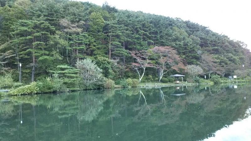 Kagamigaike Pond in Dake Onsen Hot Springs. Surface of the pond is just like a Mirror. (Kagami means Mirror in Japanese)