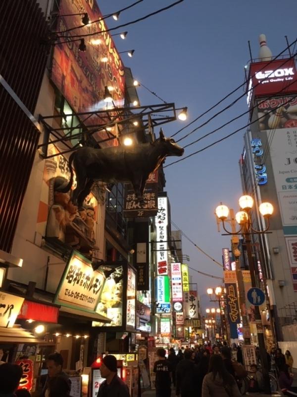 Cow high up in the air at Dotombori Downtown Osaka