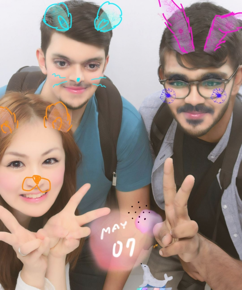 Purikura animated picture experience with my guests from India!!