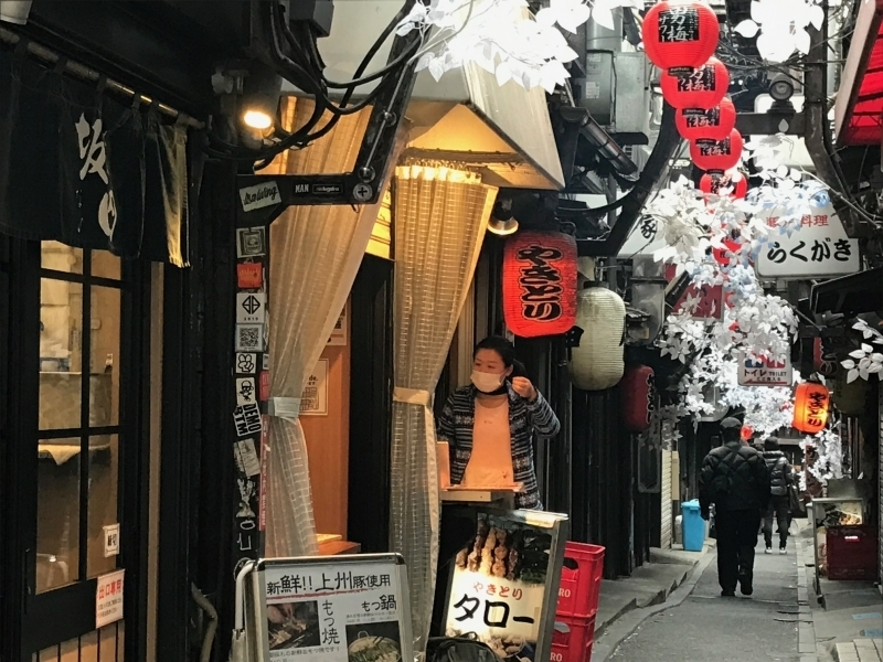 Shinjuku Omoide yokocho. You can enjoy yakitori, ramen, sushi ...etc  at a reasonable price.