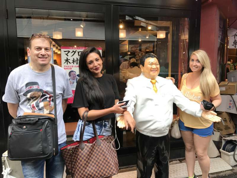 With the figure of famous sushi restaurant's  owner in Tsukiji outer market.