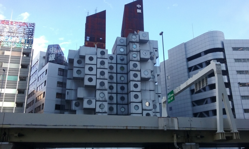 The Nakagin capsule tower in Ginza.