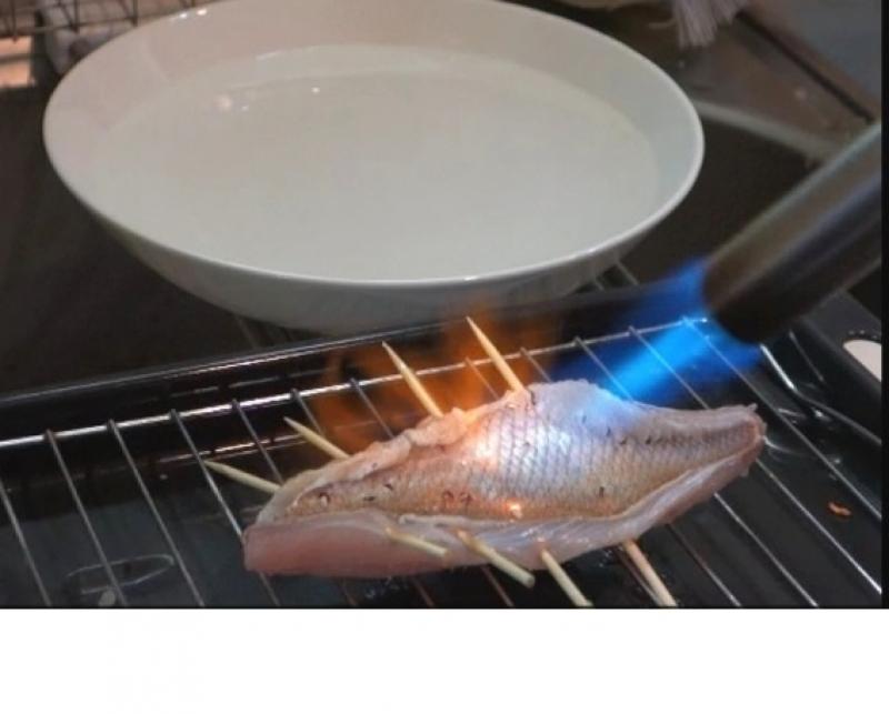 Burner broil on sea bream fillet (upon request, option)