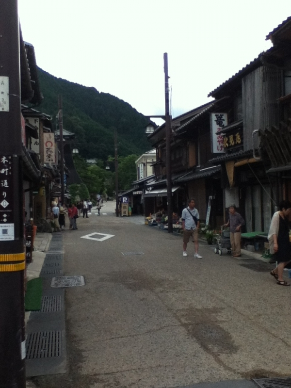 The streets in Izushi are in grid like Kyoto. The houses are low hight in quiet surroundings like old-time Kyoto.
