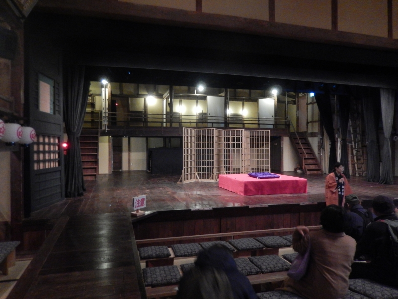 Izushi has a small Kabuki theater named Eiraku-kan. This is a  typical local Kabuki theater which is different from Kabuki theater in Osaka or Tokyo. The distance between performer and audience is very close.