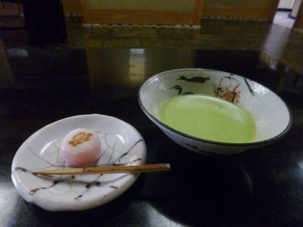 A public tea house in Gifu Park serves 'Matcha' with a piece of Japanese confectionery 'Wagashi'.