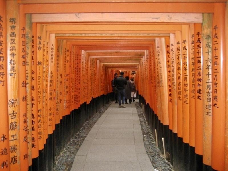 Torii Gateway at the entrance to Fushimi Inari Shrine