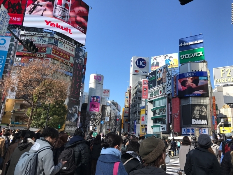 Shibuya Crossing, about 3000 people cross the road at the same time