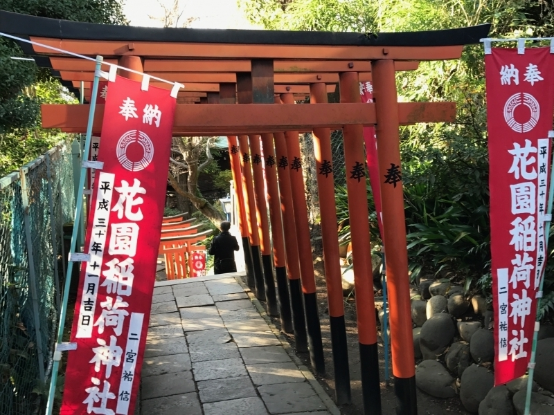 The tori-gates of Ueno Hanazono shrine looks like a red tunnel.