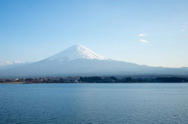 Mt.Fuji view from leisurely boat cruise on Kawaguchi-ko Lake.