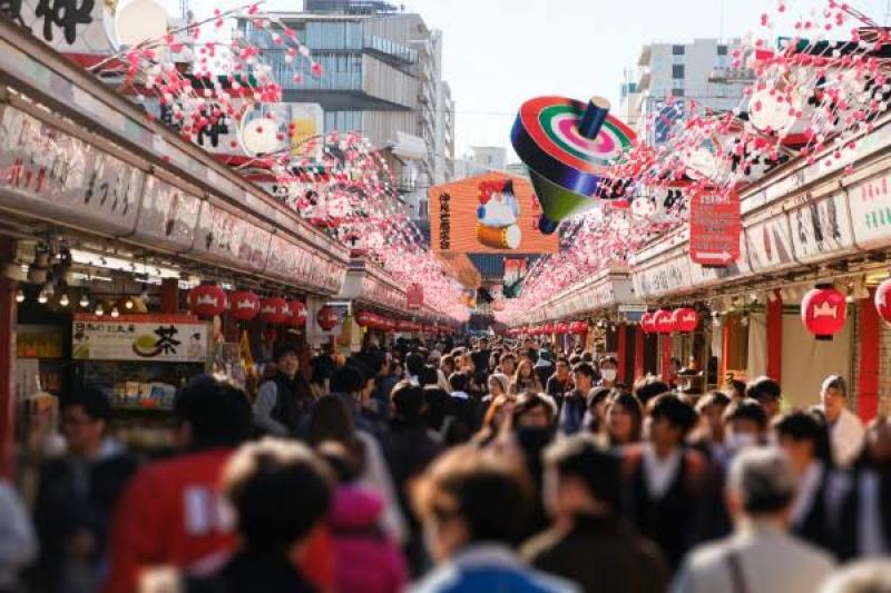 Sensoji Temple Nakamise Shopping street.