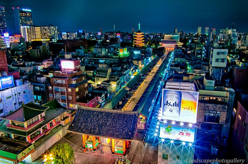 Asakusa view from the information center 8th floor in the night.
