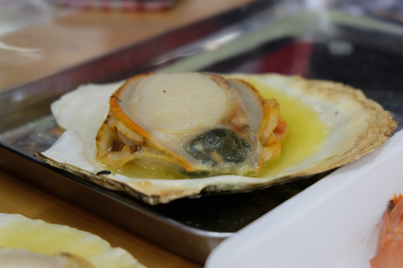 Grilled seashell at Shiogama fish market