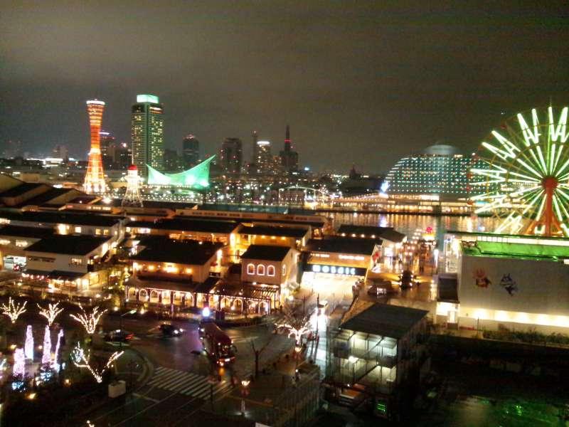Kobe harbor at night