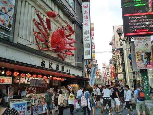 Dotombori's famous Kanidoraku Crab restaurant