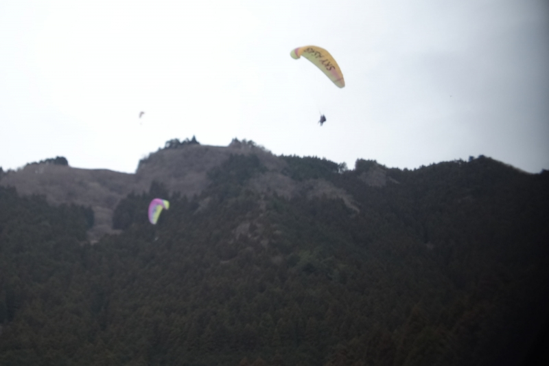 The paraglider launch site is at the top of the 300-meter-high hill.