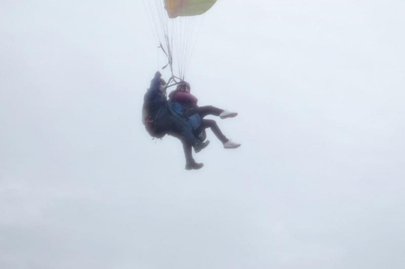 Tandem paraglider flight