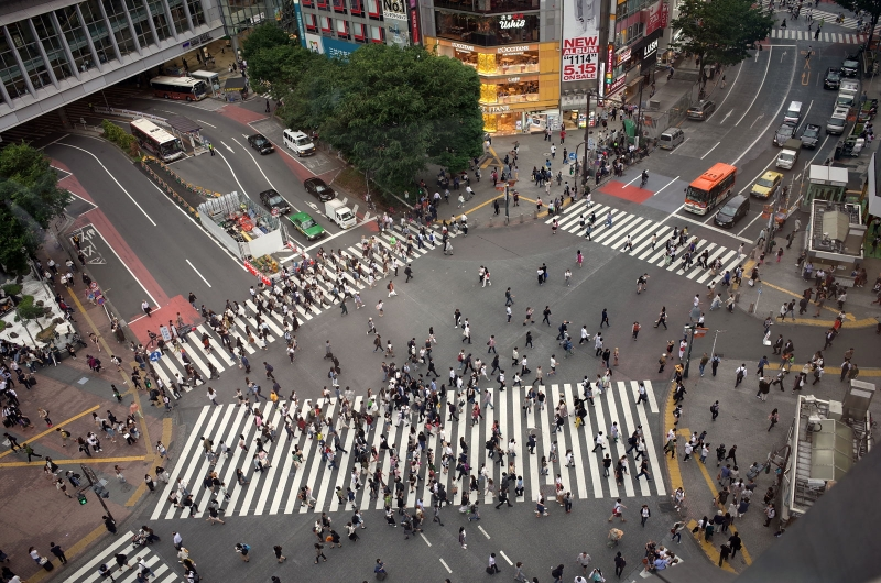 Shibuya Scramble Crossing is now worldly famous.