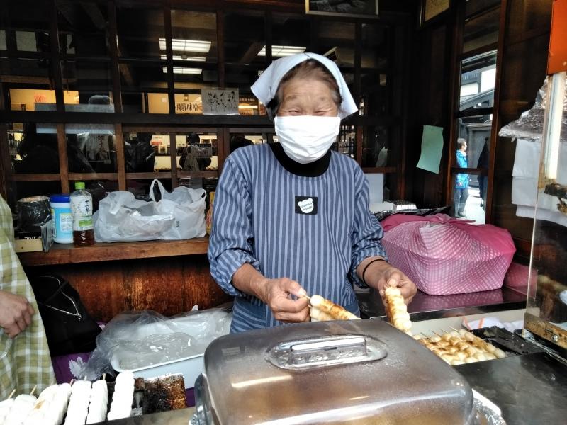 My favorite Mitarashi Dango dumpling (skewered Mochi balls) vendor. Enjoy a pleasant smell of soy sauce.