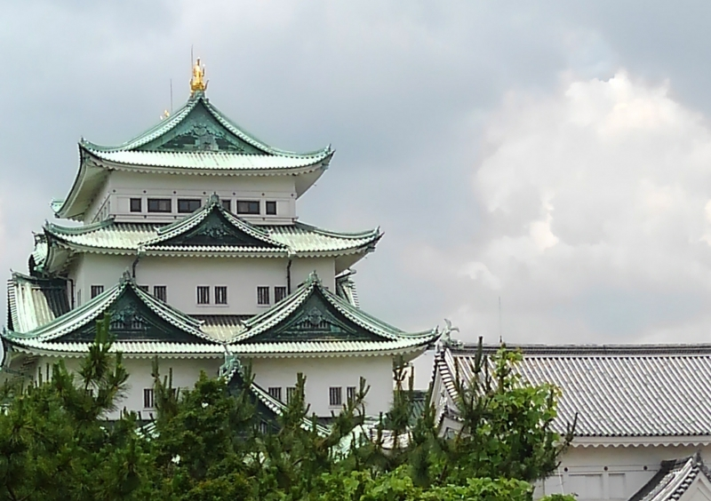 Nagoya Castle, which has a pair of gold monuments on the roof