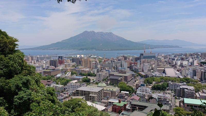 View of active volcano Sakurajima