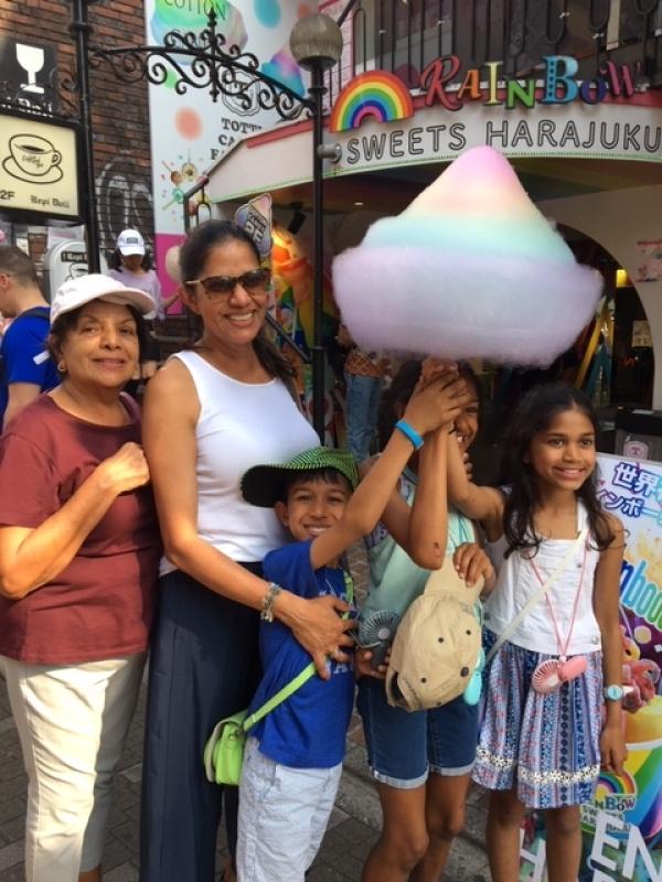 Gigantic rainbow-color cotton candy available at Takesita Street, Harajuku