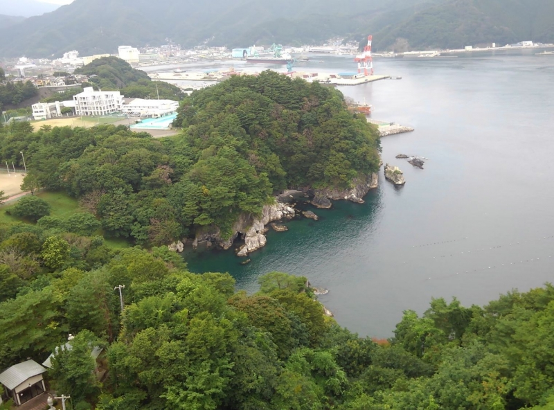 A view from the observation deck of Dai-Kannon Statue.