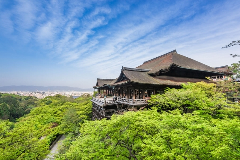 Kiyomizudera Temple ...Spectacular view of Kyoto City from stage supported by lattice deck