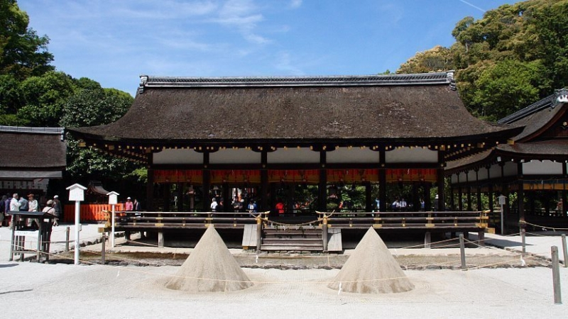 Kamigamo-jinja Shrine...The Kyoto's oldest Shinto shrine containing main shrine and temporary main shrine and famous for two sand cones to ward off disasters