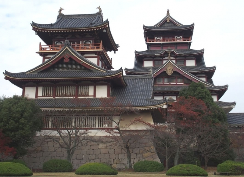 Fushimimomoyama Castle...Replica of the original castle built in the late 16th century, which features twin keeps admired from the outside only
