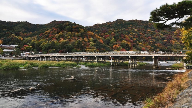 Togetsukyo Bridge...Bridge crossing the Oi River with a beautiful mountain range in the background