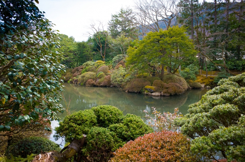 Shoyo-en Garden of Rinno-ji Temple, fine work of famous gardener. Its autumn foliage is also well-known.
