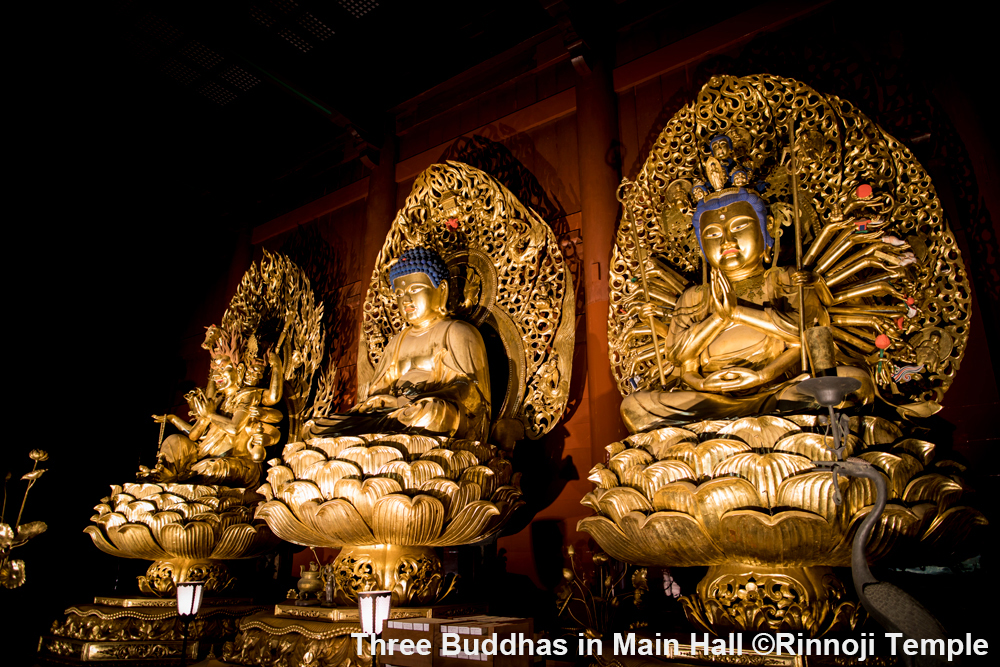 Stunning Three Buddha statues in Main Hall of Rinno-ji Temple. Note that taking photo is prohibited in the hall.