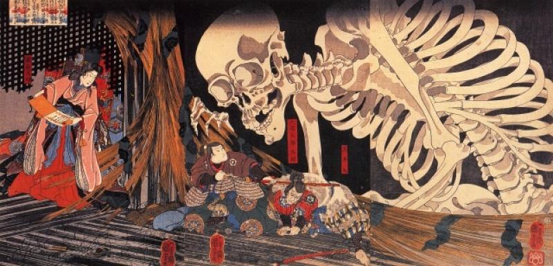 Ukiyo-e of the skeleton created by Utagawa Kuniyoshi