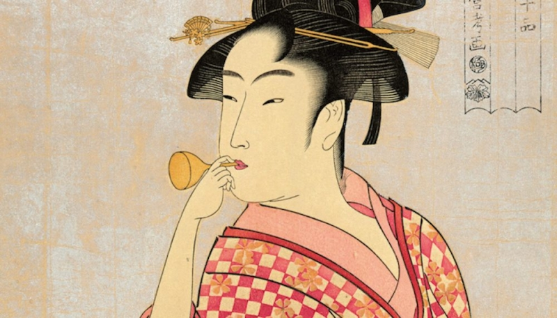 The famous Ukiyo-e of a young woman implying the emergence of femininity