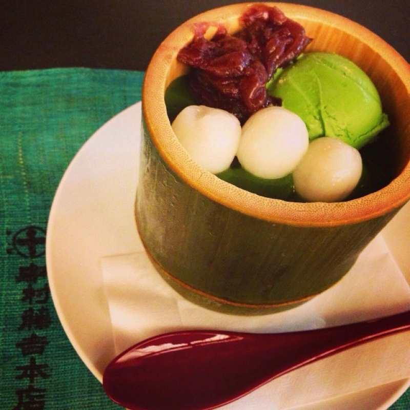 Japanese traditional food Rice Dumplings,Matcha Icecream,Sweet red bean paste on Agar in a pot
