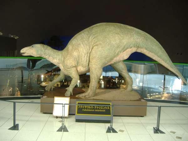 A model of a dinosaur.