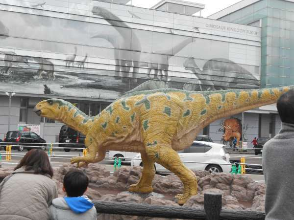 A model of a dinosaur at JR Fukui station.