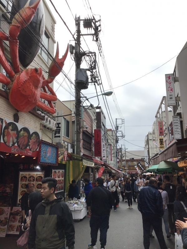 Outside Tsukiji is a popular place for tourists from all over the world to visit as a tourist shopping street.