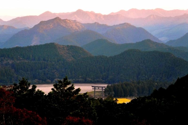 Fushi Ogami Oji, view of the sacred Kumano Hongu Grand Shrine from the Fushi Ogami Oji spot on  Kumano Kodo Pilgrimage Route.