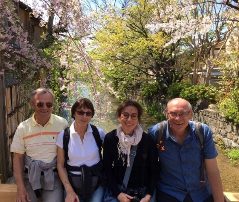 Nice couples taking a rest for a while at Gion