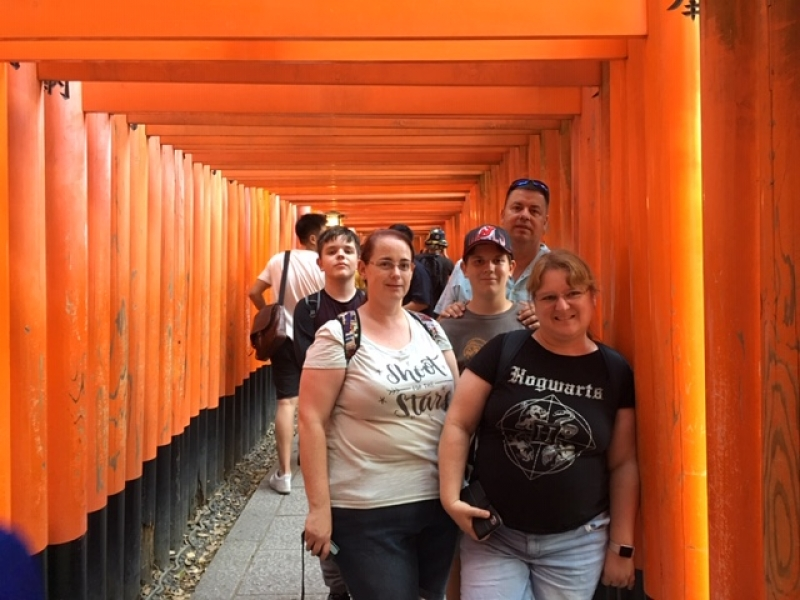 Lovely family from Australia at Fushimi Inari Shrine with more than 1,000 red shrine gates