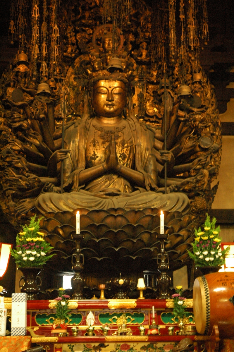 1C. History: Kyoto Sanjusangen-Do Temple (Main Kannon with eleven heads and one thousand arms)