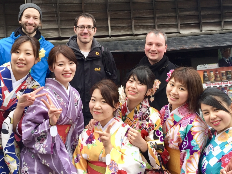 German group with girls in Kimono.